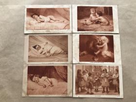 民国法国明信片:儿童睡觉嘻戏图6张一组(绘画版),M047