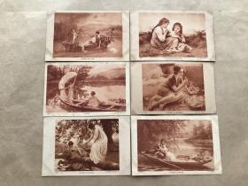 民国法国明信片:少女情侣等人物画6张一组(绘画版),M048