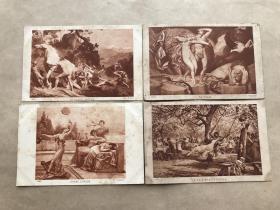 民国法国明信片:神话故事人物画4张一组(绘画版),M049