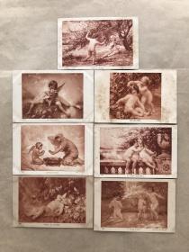 民国法国明信片:儿童天使嘻戏人物画7张一组(绘画版),M050