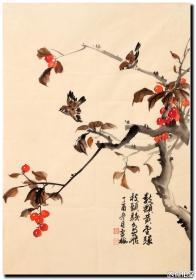 曹雪梅花鸟画竖幅作品规格:69cmX48cm作品材质:宣纸