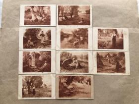 民国法国明信片:人物生活画10张一组(绘画版),M051