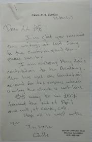 美国最著名的中国通夏伟(Orville Schell)致梁从诫英文信一封