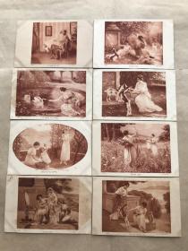 民国法国明信片:美女生活画8张一组(绘画版),M052