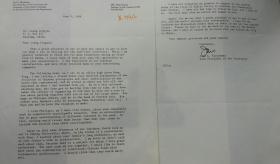 乔尔·L.弗雷施曼(Joel L.Fleishman)致梁从诫英文信一通两页 (使用杜克大学笺纸)