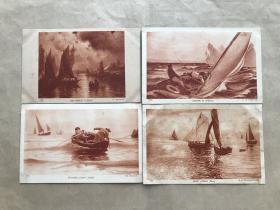 民国法国明信片:帆船人物画4张一组(绘画版),M054