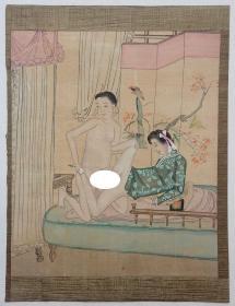 民国初年绢本设色佚名风月作品