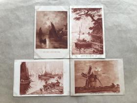 民国法国明信片:帆船人物生活画4张一组(绘画版),M055
