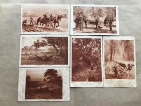 民国法国明信片:田园生活人物画6张一组(绘画版),M056
