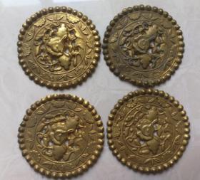 特价清末民国银鎏金花卉图案的银片4片共388元包老银器银饰