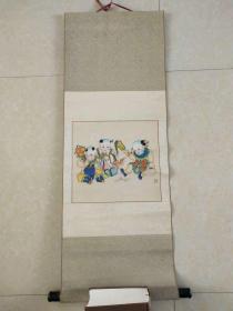 八十年代初期天津杨柳青年画,已经装裱挂轴,画心规格30x32