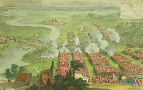 18世纪铜版画 4开手工着色 乔治二世国王之 德廷根战役 英法战争