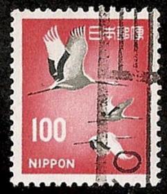 外国邮票-日本【大雁飞翔】100圆,信销普通邮票一枚