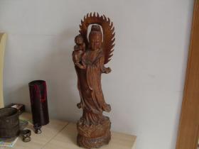 (包邮)木雕送子观音(高70厘米)