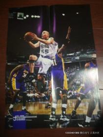 篮球海报收藏:大嘴鳄鱼赠送海报之体育世界灌篮135期  曼努吉诺比利变形怪杰  贾森威廉姆斯 白色阴影