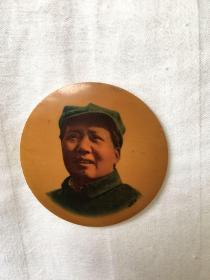 竹质毛主席八角帽像章