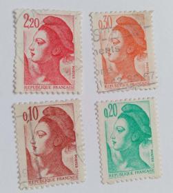 外国邮票人物信销票4枚