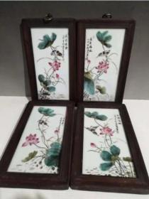 粉彩手绘莲花瓷板画挂牌一套 红木镶嵌瓷板墙挂