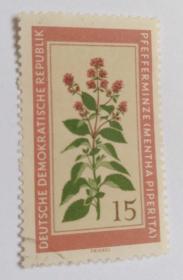 外国邮票联邦德国植物胡椒信销票(1枚1960年发行)