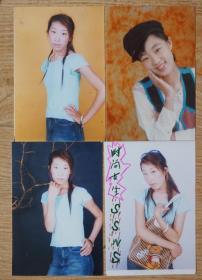 时尚女生彩色照片4张高12.5厘米宽8.5厘米 原物拍照