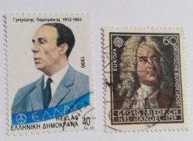 外国希腊邮票(人物信销票2枚)