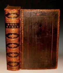 【补图】1831年《神圣经典》大象对开本 全铜版画插图本 黑色全小牛皮装桢 硕大无朋 金碧辉煌 绝世珍本 大量古铜版画