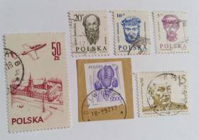 外国波兰邮票(信销票6枚没有重复不是一套票)个别票是全戳