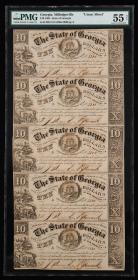 1865年美国五连体钞一件(评级币   PMG 55NET)