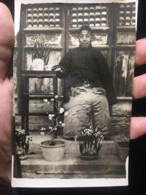 【铁牍精舍】【影像精品】民国银盐照人物明信片,14x8.8cm