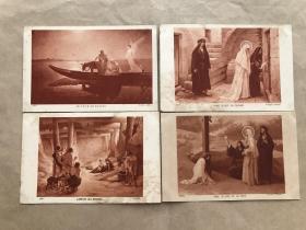 民国法国明信片:圣母玛利亚故事人物画4张一组(绘画版),基督教题材,M058