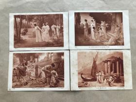 民国法国明信片:人物画4张一组(绘画版),M060