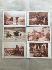民国法国明信片:人物生活画6张一组(绘画版),M061