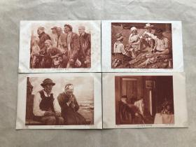 民国法国明信片:人物画4张一组(绘画版),M062