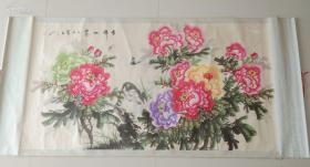 保真 ,保证纯手绘 绝对无印刷老国画160*90厘米高。z小名头真迹国画