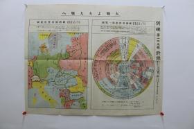 大战大战【日本昭和15年(1940)军人会馆出版部彩印本。一张。双面印刷。为训练第149号附录。包括:欧洲政情推移一览图,欧洲国境变化要图,背面为欧洲情势一般。侵华史料。红色收藏】