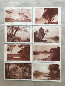 民国法国明信片:风景画8张一组(绘画版),M064
