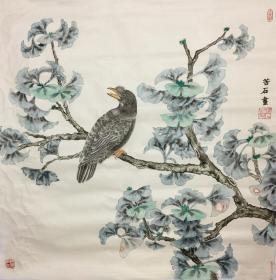 ㊣㊣【只做真迹】苦石/中国香港美术家协会会员、中国人民大学画院画家、河北省美术家协会会员工笔花鸟画(66×65cm)DB-2。
