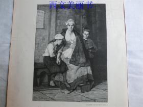 【百元包邮】1890年木刻版画《孤儿》(Die Waisen) 尺寸约41*28厘米(货号 M2)