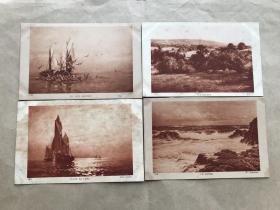 民国法国明信片:帆船风景画4张一组(绘画版),M065