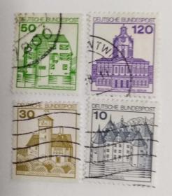 外国邮票联邦德国建筑信销票(4枚没有重复不是一套票)