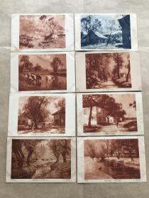 民国法国明信片:人和奶牛生活画8张一组(绘画版),M066