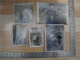 老照片--1977年探亲合影照片,5张合售