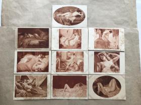 民国法国明信片:裸体美女画10张一组(绘画版),M070