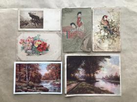 五十年代彩色明信片:花鸟花卉风景人物画6张合售(绘画版),M074