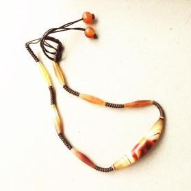 时尚复古老玛瑙毛衣链 精品缠丝纹玛瑙项链