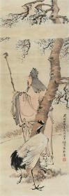 微喷绘画 任伯年 梅妻鹤子图 84-30厘米