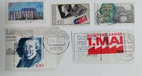 外国邮票联邦德国信销票(5枚没有重复不是一套票)