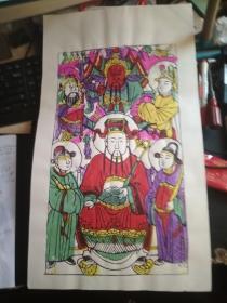 山东曹州木版年画-六色套印.上关下财.文武财神 55*31.5cm