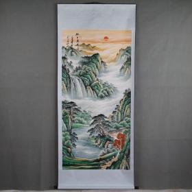 国画字画工笔画关公神威武财神收藏中堂画山水画 旭日东升