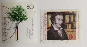 外国邮票联邦德国信销票(2枚没有重复不是一套票1988年发行)